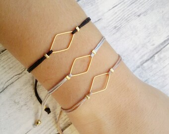 Rhombus charm bracelet, friendship bracelet, macrame bracelet, minimal bracelet, geometric, gold, bracelet set, jewelry, gift, women, trendy