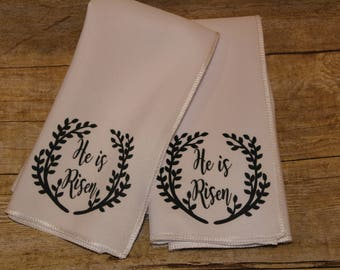 Easter cloth napkins He is Risen Christian gift SET OF 4