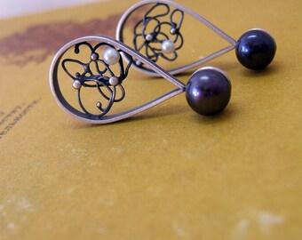 Sterling Silver Pearls Stud Earrings