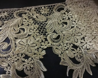 """9"""" (23 cm) Wide Gold Metallic Lace Venice Trim Renaissance Inspired for Costumes Dresses Formal ST"""