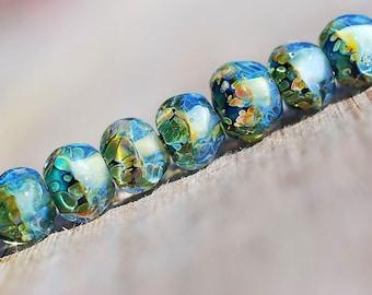 Lampwork BORO glass beads (7) borosilicate glass beads, handmade borosilicate glass beads, sea blue, forest green, sunny. borosilicate SRA