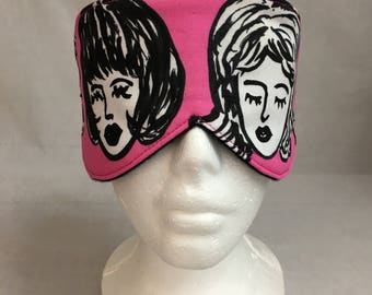 Pretty Ladies Cotton Sleep Mask & Case Set, Sleeping Mask, Travel Mask, Eye Mask