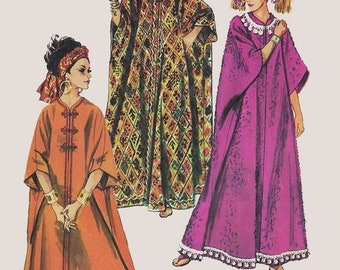 ON SALE Vintage 1960s Mod Caftan Proportioned Height Collarless Shaped Neckline Simplicity 8354 60s Madmen Pattern One Size UNCUT Ff