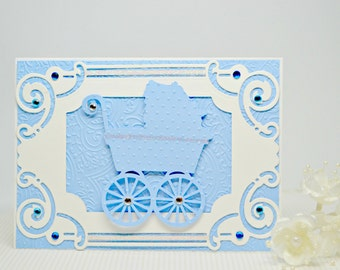 Handmade Baby Boy Card, Luxury Baby Card, Welcome Baby Greeting Card, Christening Card, Blue Baby Carriage Card, Victorian Baby Card