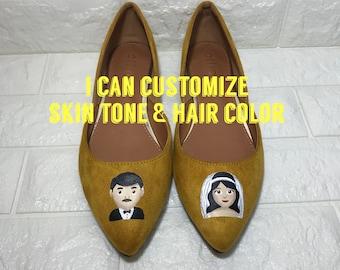 Emoji Shoes. Emoji Wedding Shoes. Hand painted Emoji shoes. Emoji Bride Shoes. Emoji Groom Shoes. Emoji Bride & Groom Gift. Wedding Flats.