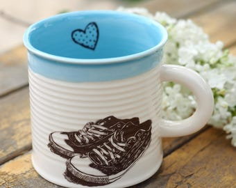 Porcelain Coffee Cup, Ceramic Mug For Kids, Pottery Mug For Boys, Cappuccino Cup, Shoes Lover Gift, Ceramic Can Mug, Handmade Pottery Gift
