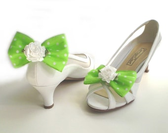 Green Bow Shoe Clips, Spring Green Shoe Bows, Polka Dot Shoe Bows, Springtime Shoe Clips
