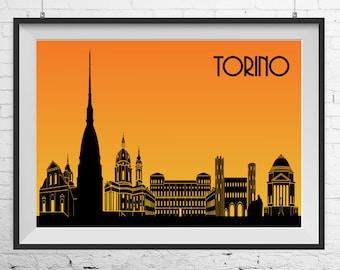 Turin print, Turin poster, Torino print, Torino poster, Torino landscape, Turin landscape, Cityscape print, Cityscape poster Italy cityscape