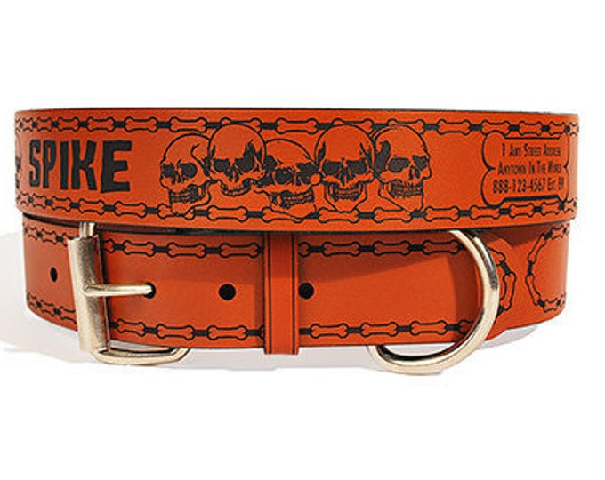 Personalized Leather ID Dog Collar, X-Large Size, Spike Design, Name & Contact Info Engraved FREE
