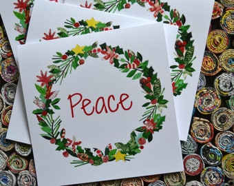Merry Christmas Or Peace Cards. 5x5 Cards with white envelopes.