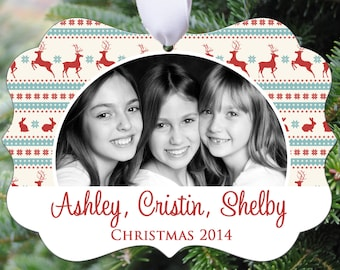 Personalized Photo Christmas Ornament - Christmas Reindeer Design - Double Sided - Aluminum 6013