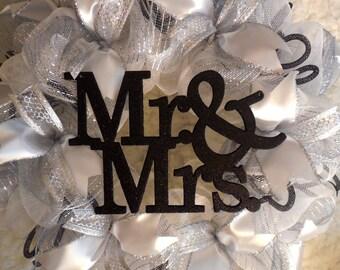 Wedding Wreath, Bridal Shower Wreath,Wedding wreaths,  Wedding Wreath, White and black wedding wreath, Wedding, Wedding decorations