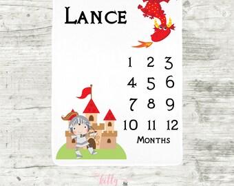 Knight and Dragon Baby Milestone Blanket, Knight Fairytale Milestone Blanket, Dragon Baby Blanket, Monthly Baby Blanket, Baby Boy Blanket