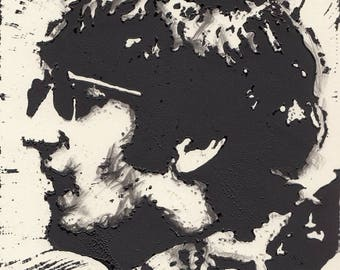John Lennon of The Beatles (Musician) Lino Block Print