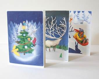 Christmas or Winter Greeting Card Set -  IN THE FOREST - Peaceful Deer, Mom and Daughter on a Sleigh, Birds and the Magical Christmas Tree