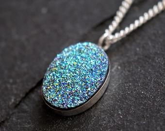 Druzy Necklace, Blue Druzy, Oval Drusy, Druzy Necklace Silver, Drussy, Drusy, Statement Necklace, Handcrafted, Round, Iridescent, Quartz.