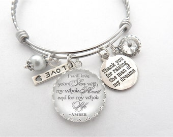 mother of groom gift from daughter in law to mother of the groom wedding keepsake charm bracelet i will love your son mother in law