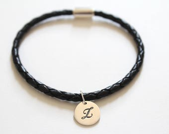 Leather Bracelet with Sterling Silver Cursive L Letter Charm, Bracelet with Silver Letter L Pendant, Initial L Charm Bracelet, L Bracelet
