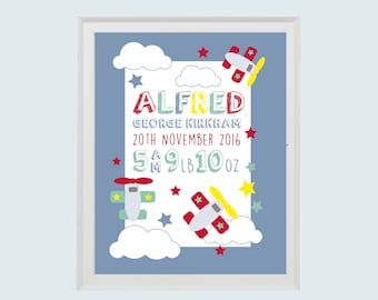 Birth Announcement Print • Instant Download • Personalised Gift New baby • Christening • Areoplanes