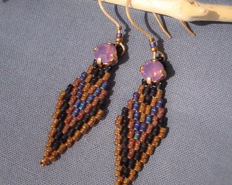 Purple Swarovski Crystal Cabochon and delicas beads earrings