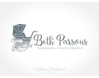 Logo Design (Premade) Vintage Baby Carriage Logo, Newborn Photography Logo, Boutique logo, Whimsical logo, Cute logo
