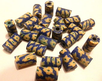 30 Fimo Polymer Clay Tube Beads Yellow Blue Print Flower 11mm