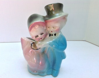 Pink and Blue Happy Couple Planter