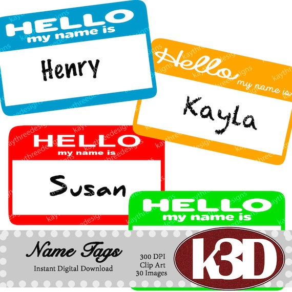 name tags hello my name is name tags rainbow name tags clipart rh etsystudio com my name clipart my name clipart