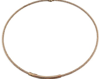42cm Long Rose Gold Plated Popcorn ID with Magnetic Clasp Sterling Silver Necklace