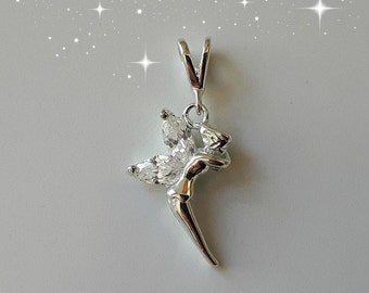 Tinkerbell pendant etsy sterling silver 925 fairy tinkerbell pendant with cubic zirconia wings aloadofball Gallery