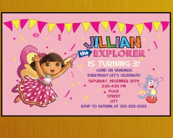 Personalized Butterfly Dora the Explorer Birthday Party Invitation, Dora Birthday Invitation,Dora Invitation, Dora Birthday Party