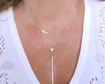 Vertical Bar Necklace With CZ Center Station, 14K Gold Long Stick Necklace, Yellow or White Gold, Celebrity Style - Cameron Diaz