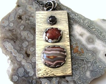 "Crazy Lace Agate, Peach and Gray Moonstones ""Stoplight"" Pendant in Sterling Silver Necklace Jewelry"