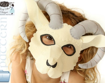 Ram Mask PATTERN.  Digital Sewing Pattern For Kids Sheep Costume.