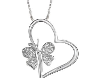 White Diamond Accent Sterling Silver Heart And Butterfly Pendant