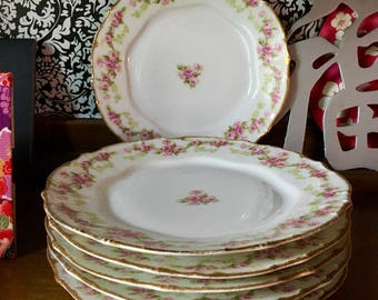 Elite Works Limoges France China 6 Authentic Rose Pattern Tea Small Plates