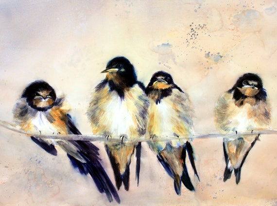 Barn Swallows - signed prints or note cards by Bonnie Whitew