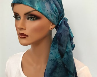 Jessica Pre-Tied Head Scarf - Women's Cancer Scarf, Chemo Hat, Alopecia Head Wrap, Head Cover, Hair Loss, Cancer Gift Blue Burst Tie Dye