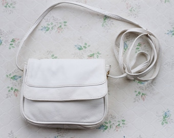 White Leather Satchel - Camel Cross Body Small Messenger Bag