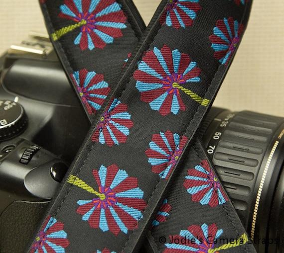 "Camera Strap Dandelions Turquoise Maroon on Black in 1.5"" Wide Custom Padded Fits DSLR SLR 3290"