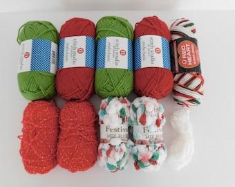 Christmas Holiday Yarn Mixed Lot, Destash