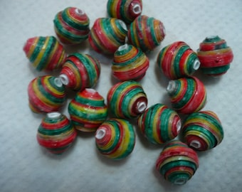 set of 18 paper beads, red, yellow and green, 1 cm long. rasta colors