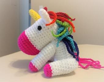 Amigurumi crochet rainbow unicorn