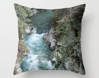 Teal Sofa Accent Pillow Case, Mountain Lodge Decoration, Lake House Art, Turquoise Sofa Cushion Cover For A Cabin, Pillow Case Handmade