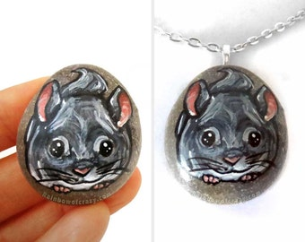 Chinchilla Necklace, Pet Portrait Pendant, Pet Loss, Memorial Jewelry, Hand Painted Pebble, Rock Art, Animal Lover, Original Painting