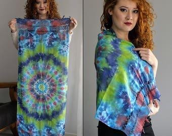 Scarf / Mandala/ Winter / Psychedelic / Unique /  Tie Dye/ TieDye / Hand made / Colors / Psytrance