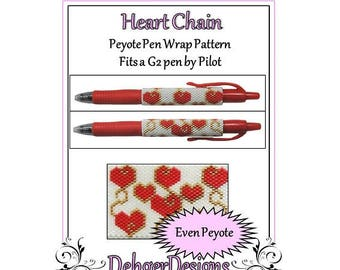 Peyote Beading Pattern (Pen Wrap/Cover)-Heart Chain