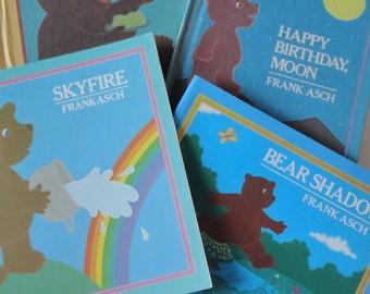 1 Set LIKE NEW Vintage Childrens Books - Bear Shadow & Skyfire - Frank Asch, Brown Bear, Bear Bedtime Storybooks, Kids Birthday Gift