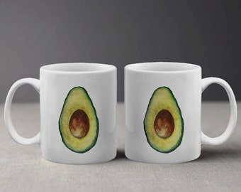 Cool Avocado Painting with Canvas Texture Effect on White Mug MT418