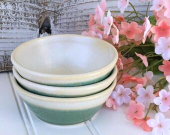 Condiment Bowl Set - Trio of Tiny Kitchen Bowls, Prep Bowls, Mise En Place Bowls, Shabby Chic, Stoneware Snack Bowls, Kitchen Decor